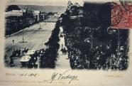La Avenida Juárez, con sus arboledas de alineación, a la altura de la Alameda Central
