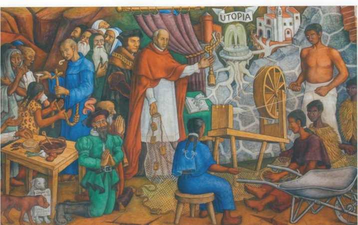 Fragmento del mural de Juan O'Gorman Historia de Michoacán, Bilbioteca Gertrudis Bocanegra, Pátzcuaro