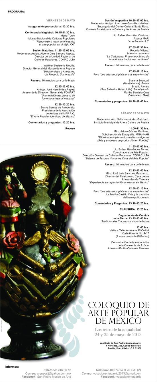 Programa abierto. Coloquio de Arte Popular de México. Puebla