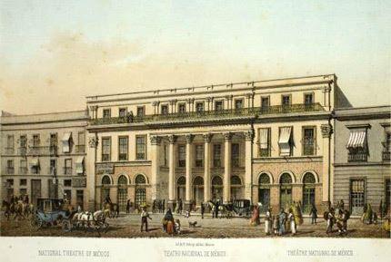 Vista del Gran Teatro Nacional de México en un grabado del siglo XIX.
