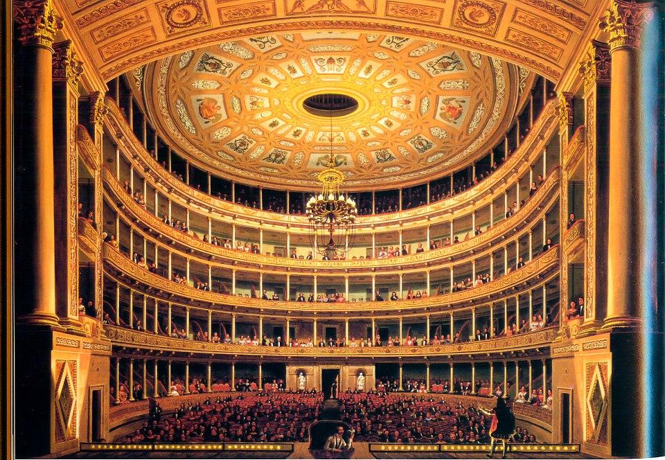 Óleo con vista del interior del Gran Teatro Nacional de México desde